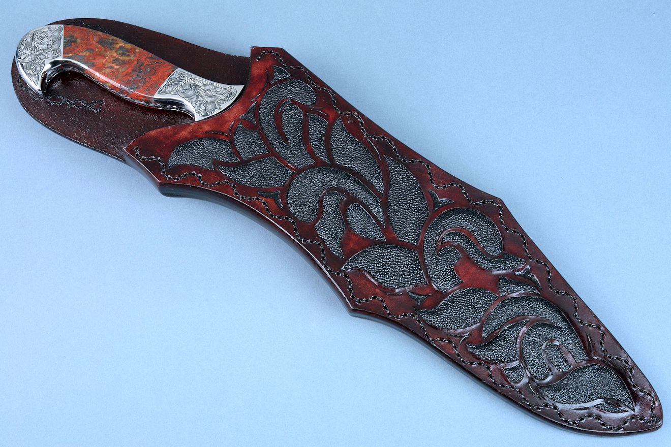 """Pallene"" obverse side view in CPM154CM high molybdenum powder metal technology tool steel blade, hand engraved, with hand-engraved 304 stainless steel bolsters, Brecciated Jasper gemstone handle, and a sheath of hand-carved leather inlaid with rayskin"