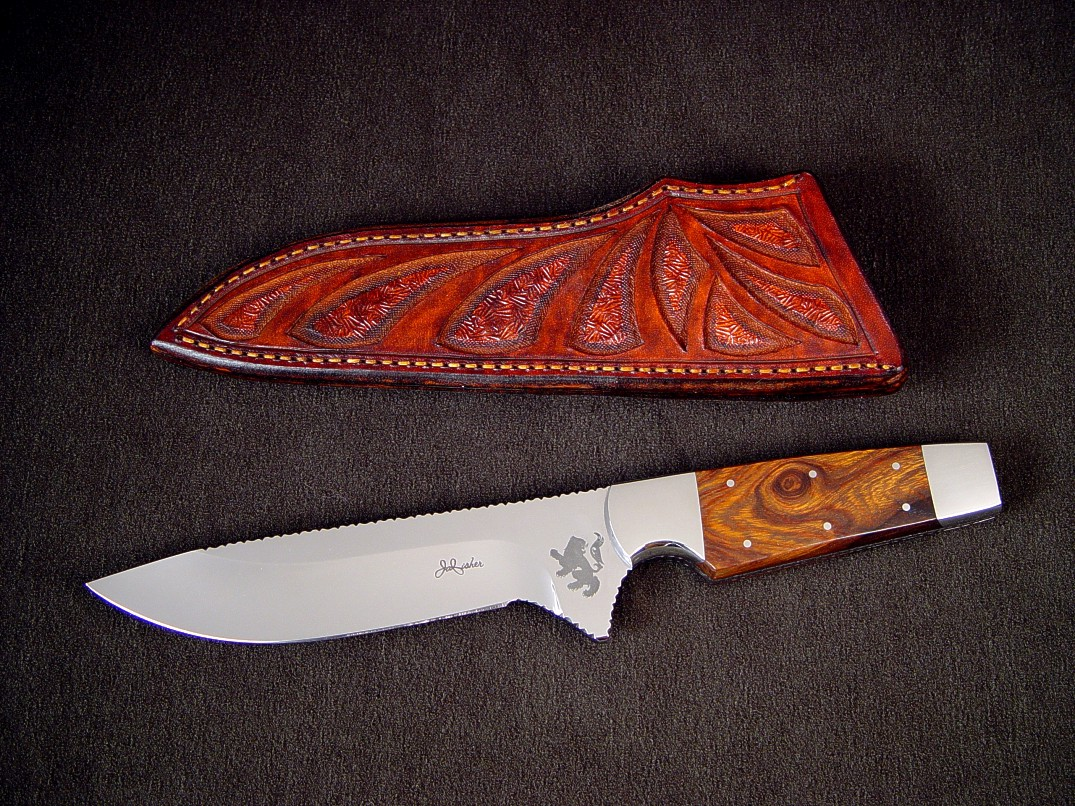 """Paraeagle"" fine tactical knife in 440c high chromium stainless steel blade, custom etched, 304 stainless steel bolsters, Desert Ironwood handle, hand-carved and tooled leather sheath"