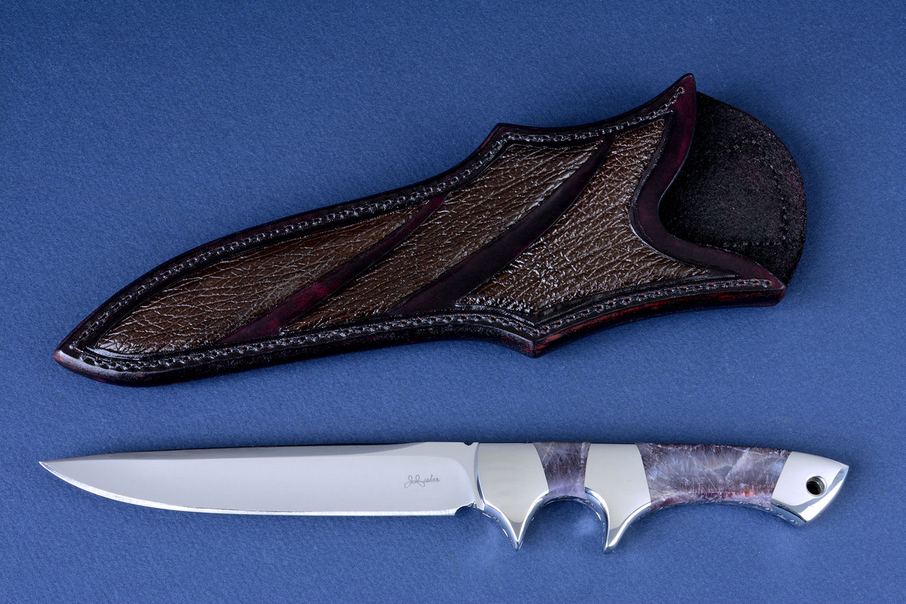"""Patriot"" obverse side view in 440C high chromium stainless steel blade, 304 stainless steel bolsters, Lace Amethyst gemstone handle, shark skin inlaid in hand-carved leather sheath"
