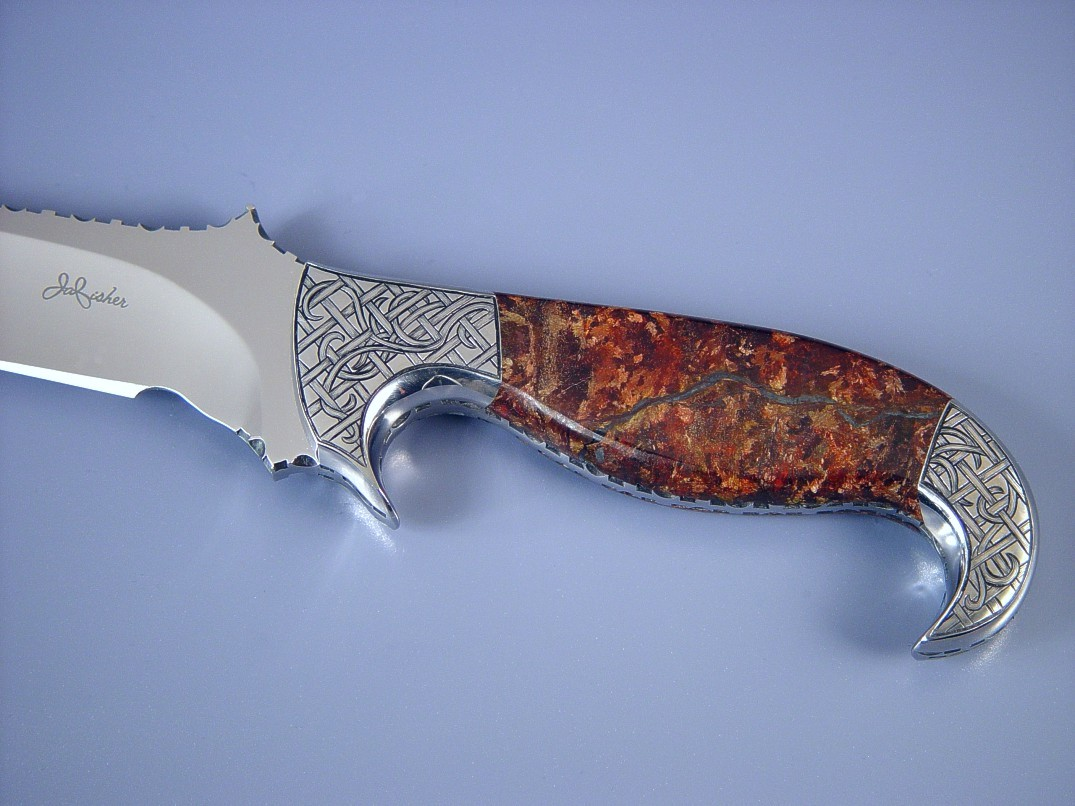 """Phobos"" Obverse side view: 440C high chromium stainless steel blade, hand-engraved 304 stainless steel bolsters, Brown Micaceous Hematite Gemstone handle, brown rayskin inlaid in leather sheath"