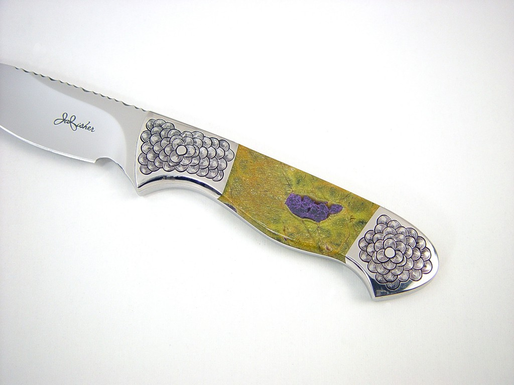 """Pyxis"" obverse side view in 440c high chromium stainless steel blade, hand-engraved 304 stainless steel bolsters, Atlantisite gemstone handle, frog skin inlaid in hand-carved leather sheath"