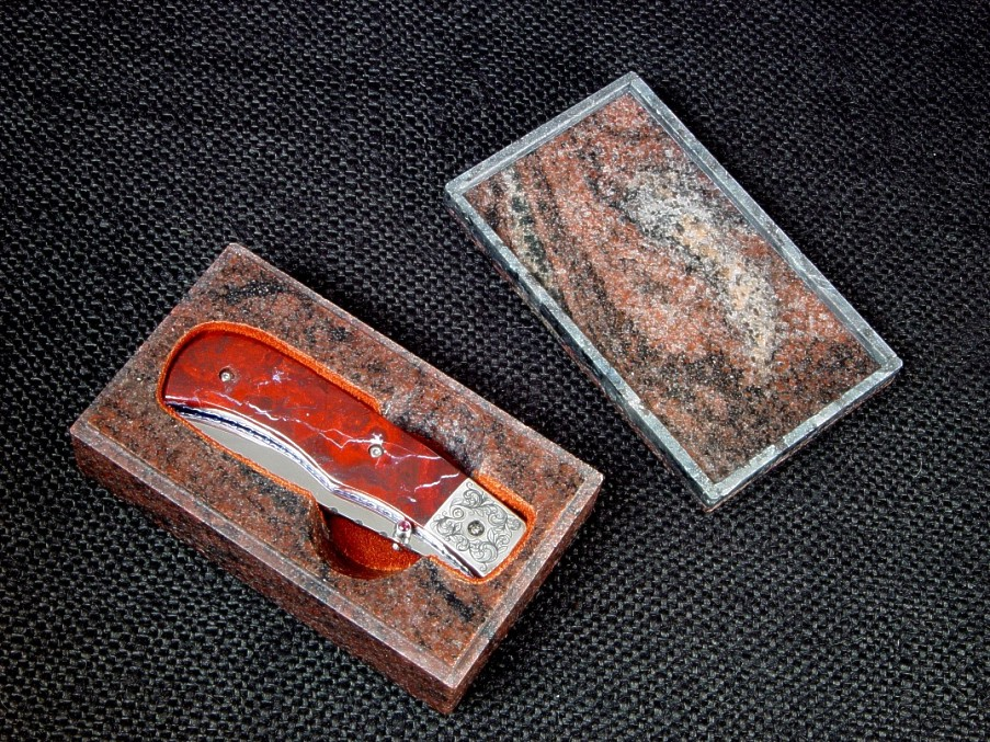 """Sadr"" liner lock folding knife: 440C high chromium stainless steel blade, hand-engraved 304 stainless steel bolsters, jasper gemstone handle, anodized titanium liners, granite case"