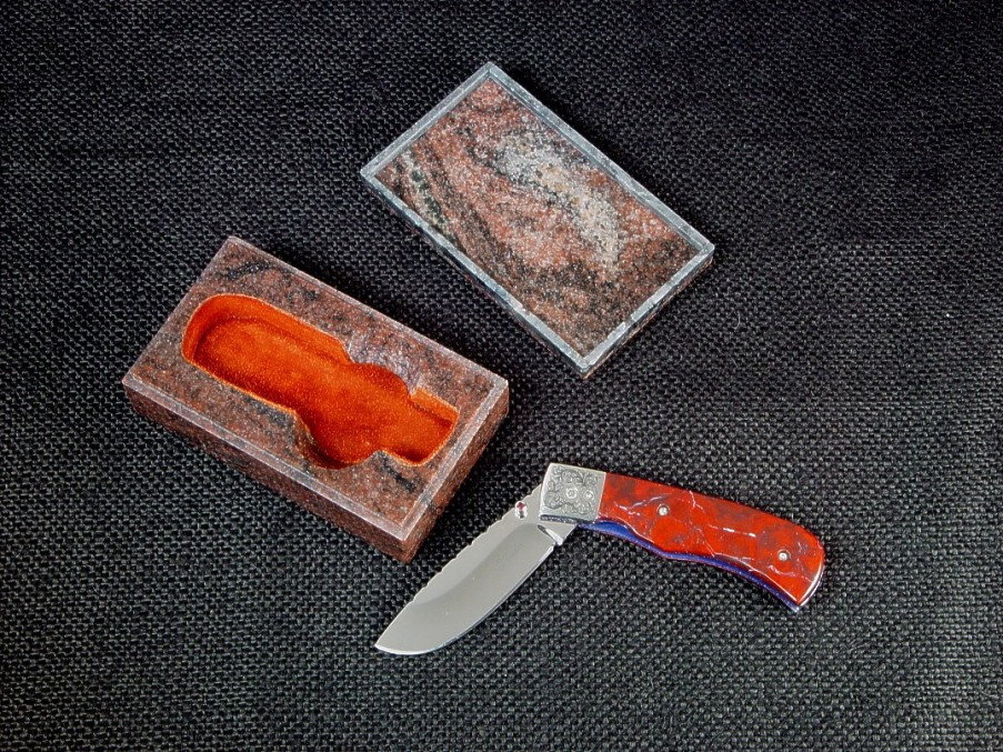 "Fine handmade folding knives with solid granite gemstone cases: ""Sadr"" linerlock folding knife and granite case"