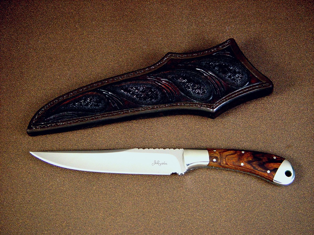 """Sanchez"" boning, utility knife, obverse side view in ATS-34 high molybdenum stainless steel blade, 304 stainless steel bolsters, Desert Ironwood hardwood  handle, hand carved and tooled leather sheath"