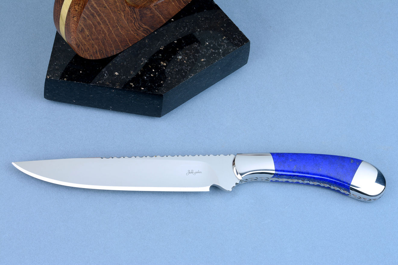 """Sanchez"" small boning, chef's knife in 440C high chromium cryogenically treated stainless steel blade, 304 austenitic stainless steel bolsters, Lapis Lazuli gemstone  handle"