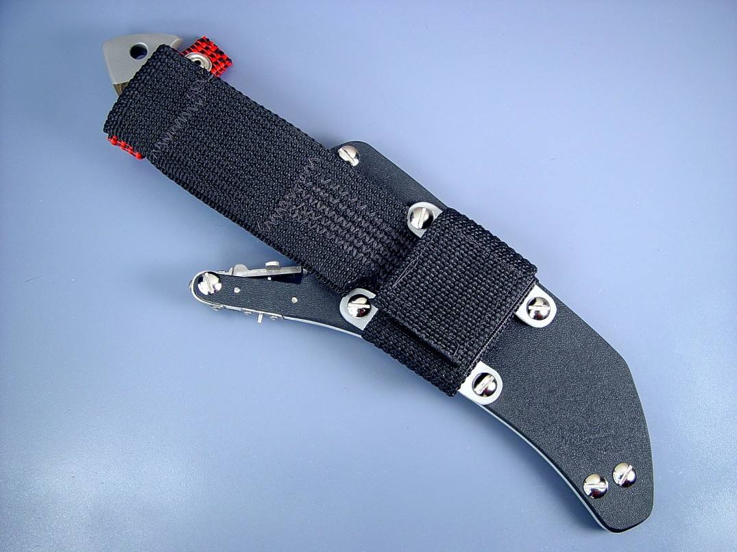"Tactical Combat Locking Knife Sheath belt loop extender on ""Sirara"" tactical combat knife"