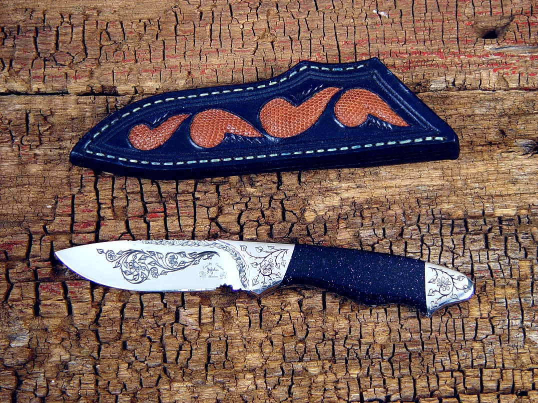 """Thuban"" in hand-engraved 440C high chromium stainless steel blade, 304 stainless steel bolsters, Italian blue goldstone gemstone, lizard skin inlaid sheath"