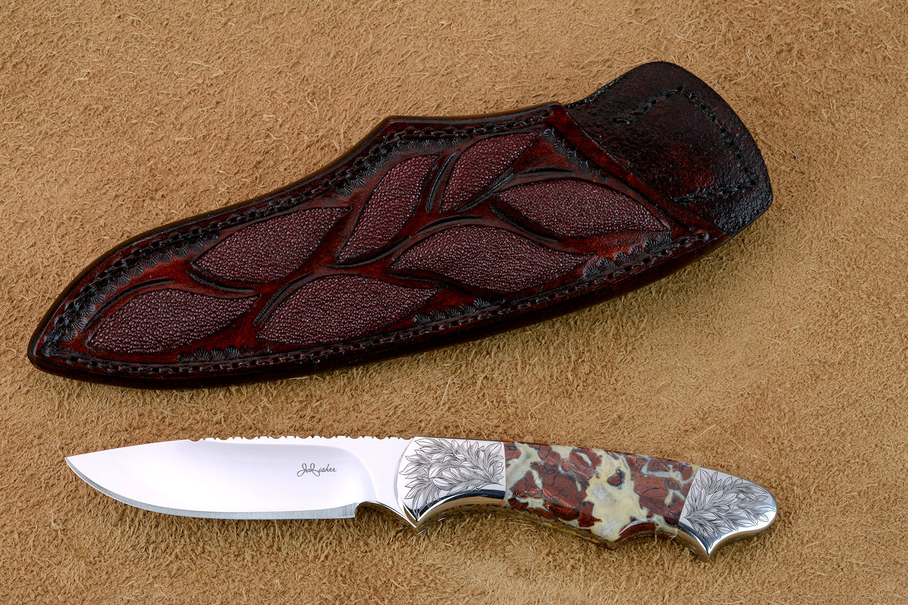 """Thuban"" obverse side view in CPM154CM powder metal technology high molybdenum stainless steel blade, hand-engraved 304 stainless steel bolsters, Brecciated Jasper gemstone handle, hand-carved leather sheath inlaid with rayskin"