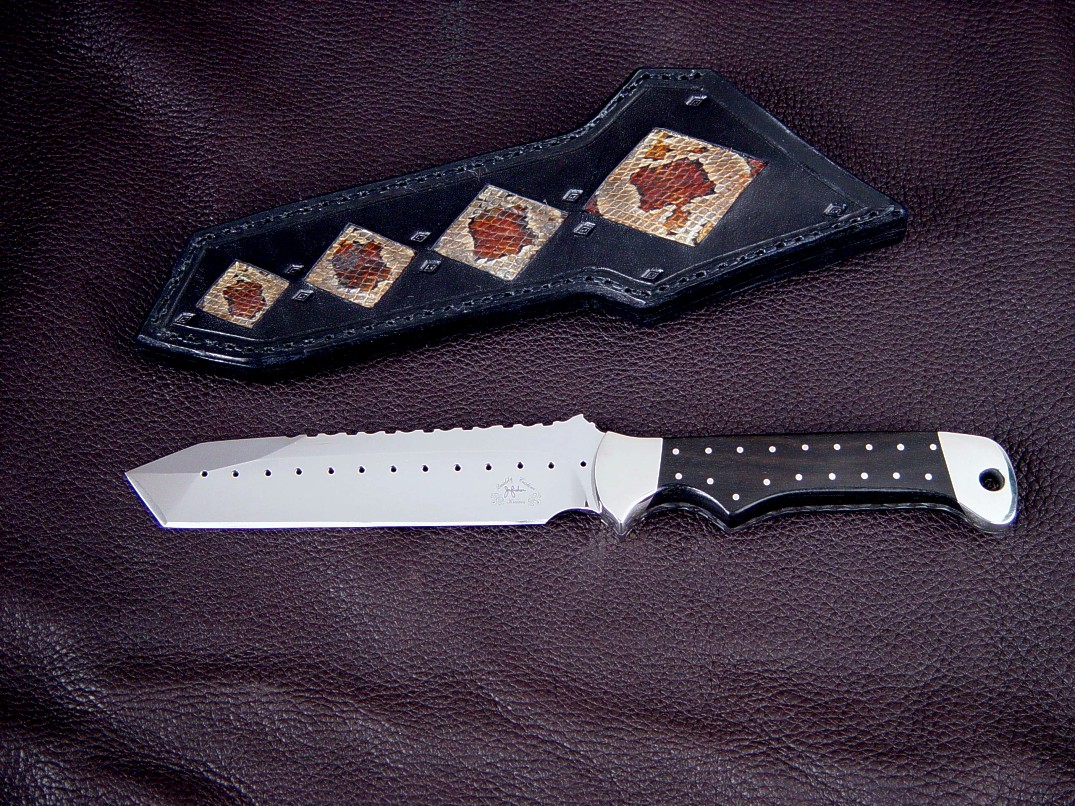 """Trailhead"" obverse side view in 440C high chromium stainless steel blade, 304 stainless steel bolsters, Ebony hardwood handle, Corn Snake skin inlaid in hand-carved leather sheath"