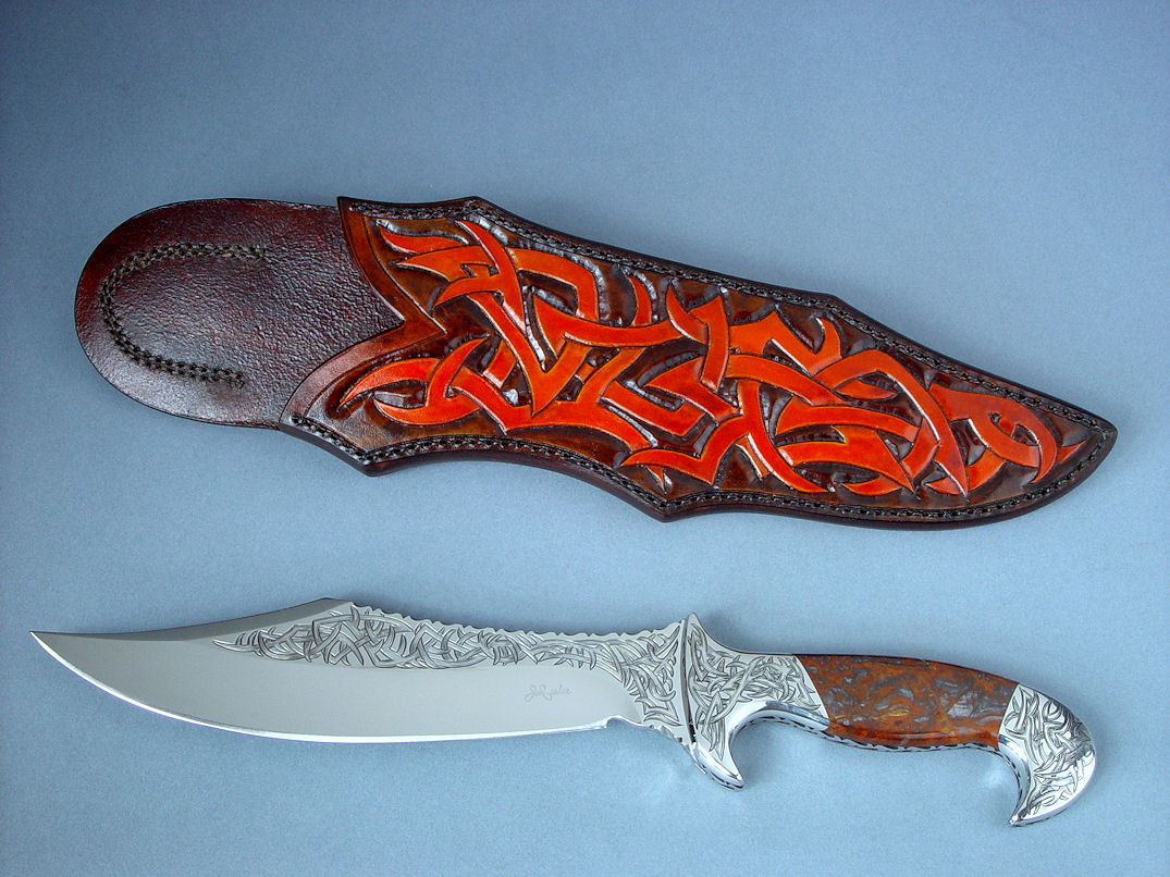"""Tribal"" (Helhor pattern) in hand-engraved 440c high chromium stainless steel blade, 304 stainless hand-engraved bolsters, Pilbara Picasso Jasper gemstone handle, hand-carved and hand-dyed leather shoulder sheath"