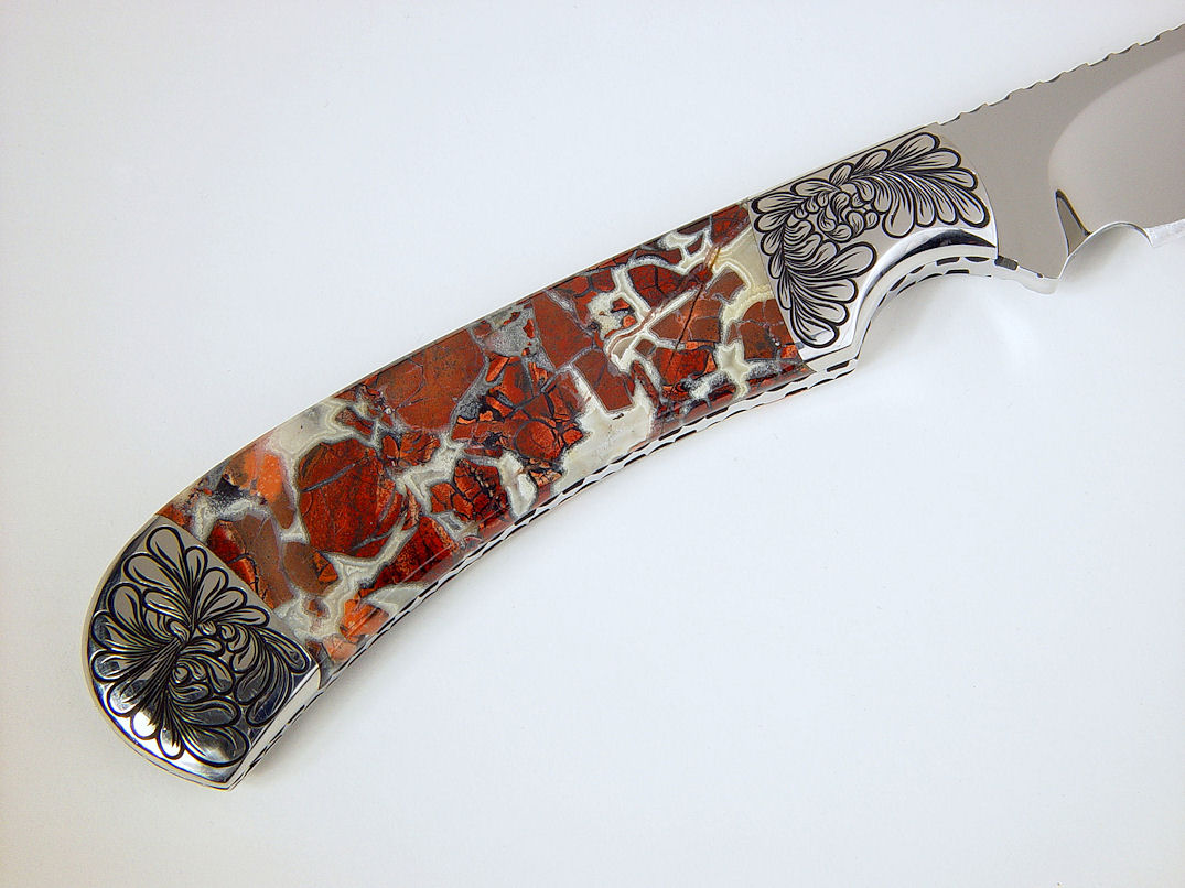 """Trifid"" reverse side view in 440C high chromium stainless steel blade, hand-engraved 304 stainless steel bolsters, Brecciated Jasper gemstone handle, Ostrich leg skin inlaid in hand-carved leather sheath"