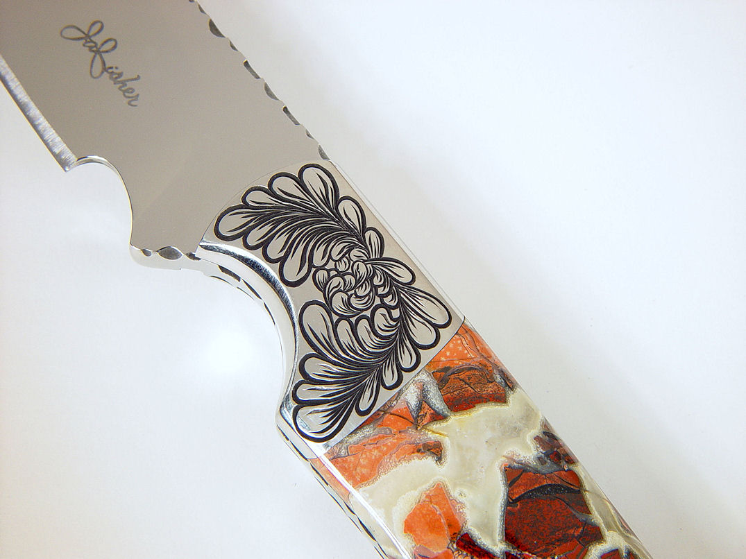 """Trifid"" obverse side view in 440C high chromium stainless steel blade, hand-engraved 304 stainless steel bolsters, Brecciated Jasper gemstone handle, Ostrich leg skin inlaid in hand-carved leather sheath"