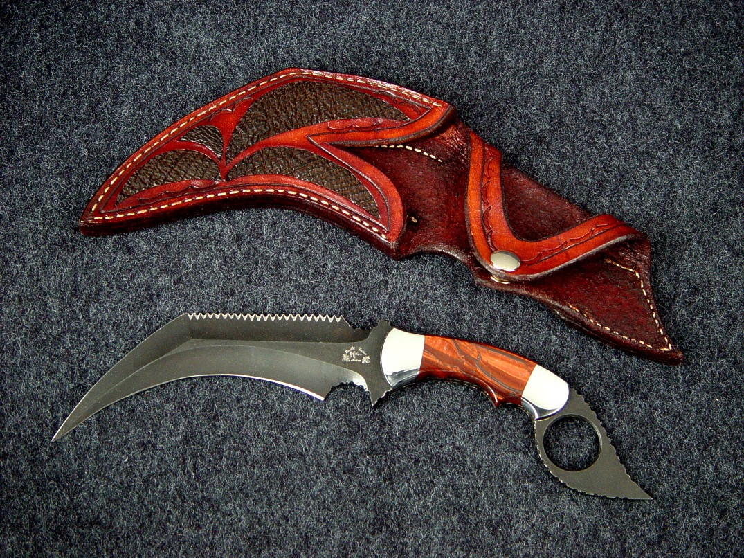 """Triton"" in blued O-1 tool steel blade, carbon steel bolsters, Red Tigereye Quartz gemstone handle, Cape Buffalo skin inlaid in hand-carved leather sheath"