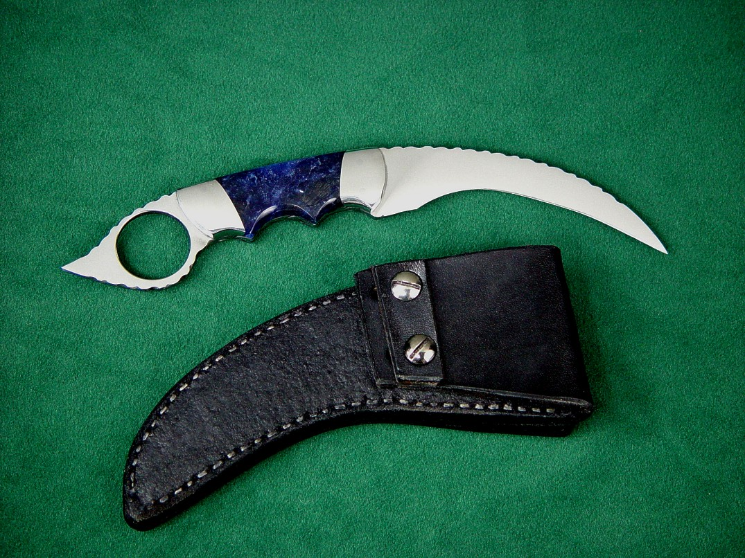 """Wardlow Kerambit"" in 440C high chromium stainless steel blade, 304 stainless steel bolsters, Sodalite gemstone handle, basketweaved leather sheath"
