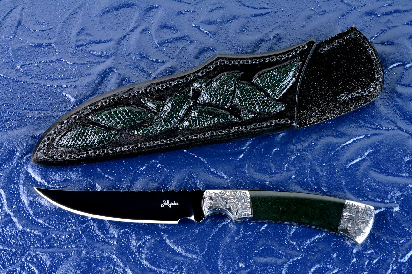 """Wasat"" obverse side view in O1 high carbon tungsten vanadium tool steel alloy steel, hand-engraved 304 stainless steel bolsters, Australian Black Jade gemstone handle, hand-carved leather sheath inlaid with green lizard skin"
