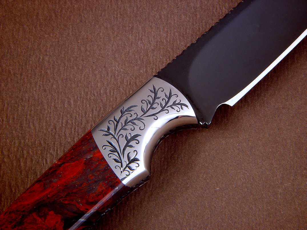 """Wasat""  in mirror polished hot blued O1 high carbon tungsten-vandium alloy tool steel blade, hand-engraved 304 stainless steel bolsters, Fossilized Stromatolite gemstone handle, Tegu lizard skin inlaid in hand-carved leather sheath"