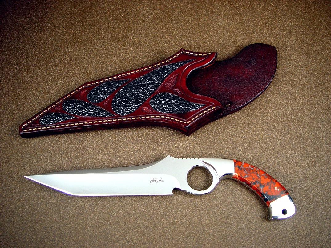 """Xiphias"" (the Swordfish) 440C high chromium stainless steel blade, 304 stainless steel bolsters, Brecciated Jasper gemstone handle, black rayskin inlaid in hand-carved leather sheath"