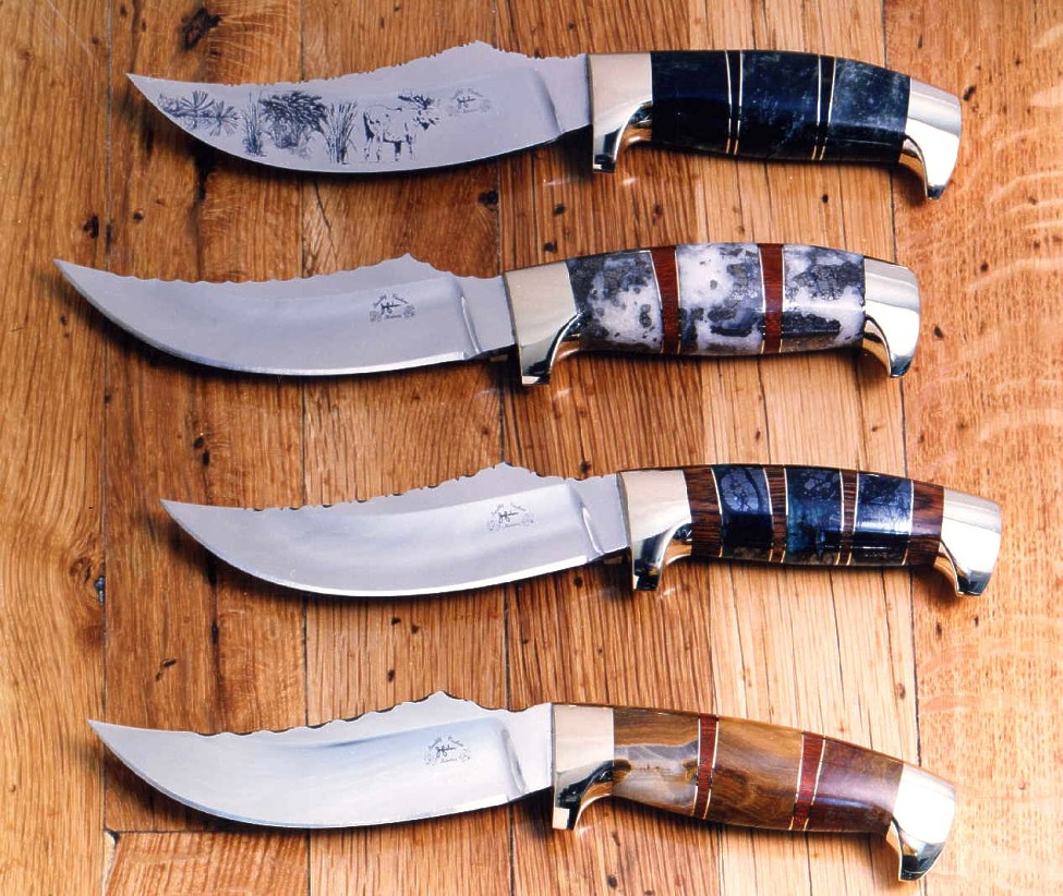 """Aunkst""-  my most popular trailing point hunting knife in stainless tool steel, brass, exotic hardwoods and gemstone"