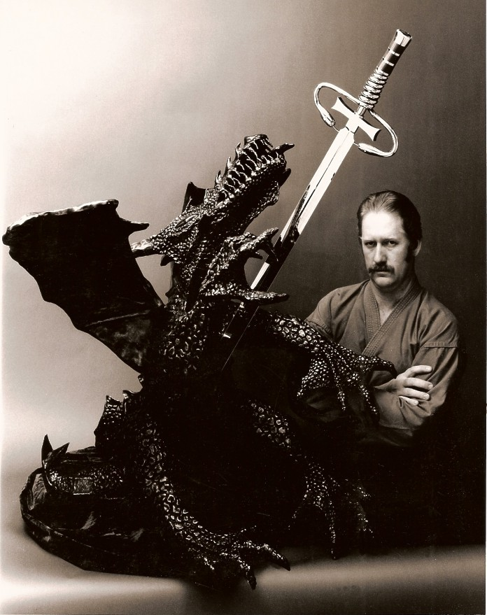 """Dragonslayer"" and slaying the black dragon of cancer, made to honor Dr. Steven Rosenberg, Head of Oncology, National Institutes of Health"