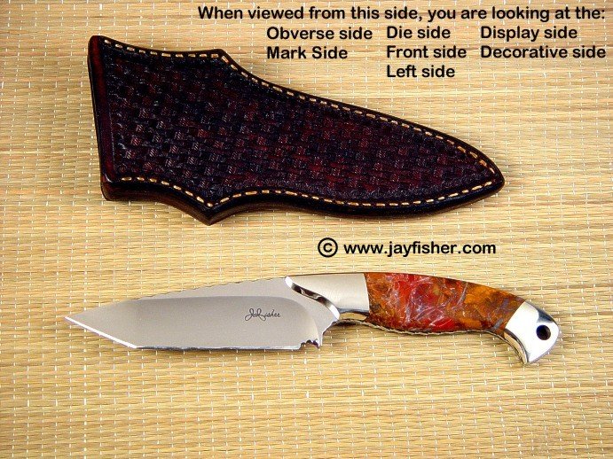 Knife Anatomy, sides, names, locations, views: obverse side, front side, die side, display side, decorative side, left side