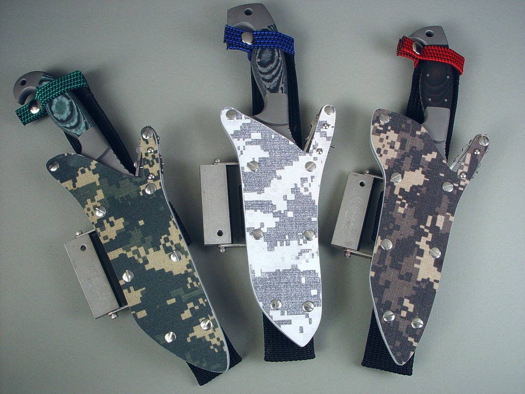Digital camouflage locking knife sheaths with full accessories for combat, rescue, survival, and tactical use and carry