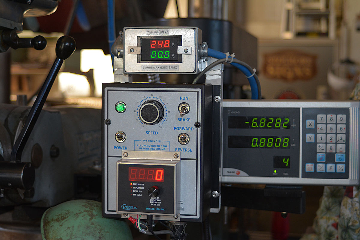 Milling machine VA power indicator, DC drive controller, RPM, SFPM indicator, and Digital Readout