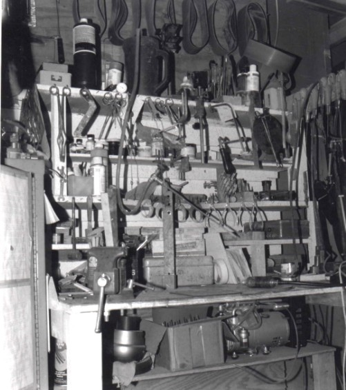 Small work bench in knife shop, 1980s