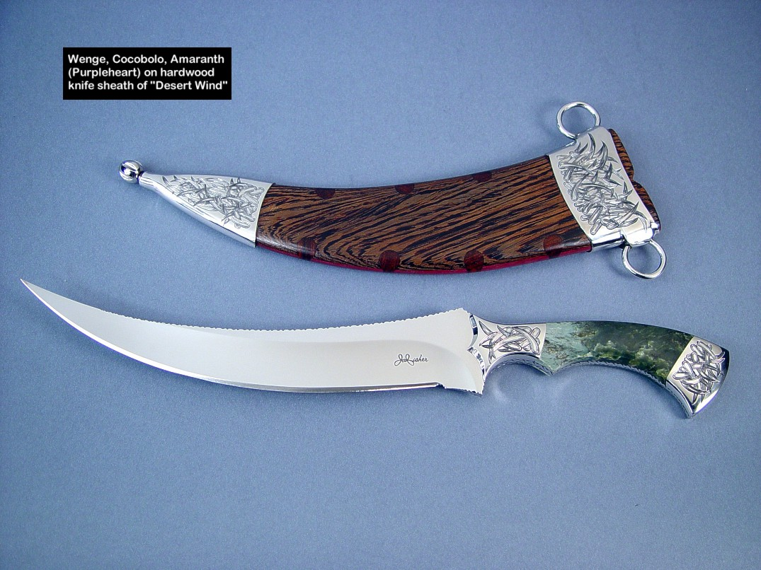 A trio of hardwoods used on this knife sheath: Wenge, Cocobolo, and Amaranth (Purpleheart)