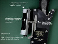 Details, parts, description of mechanism, retainer, working parts of tactical flashlight holder mechanism for Jay Fisher's combat knife sheaths