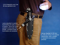 Upward aiming postion for tactical flashlight holder mounted on waterproof locking combat knife sheath