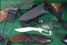 """Ananke"" custom tactical knife, obverse side view in ATS-34 high molylbdenum stainless steel blade, 304 stainless steel bolsters, Kambaba Jasper gemstone  handle, locking kydex, anodized aluminum and stainless steel tactical sheath, modular sheath frame mount assemblies and hardware"