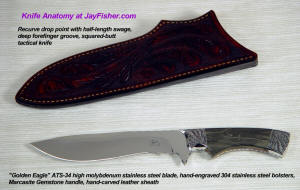 """Golden Eagle"" ATS-34 high molybdenum stainless steel blade, hand-engraved 304 stainless steel bolsters, Marcasite and Jasper gemstone handle, hand-carved leather sheath"