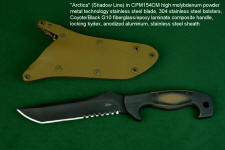 """Arctica"" obverse side view in CPM154CM powder metal technology tool steel blade, 304 stainless steel bolsters, Coyote/Black G10 fiberglass/epoxy composite laminate handle, locking kydex, anodized aluminum, stainless steel sheath"