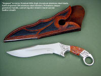 """Argiope"" tactical art knife: 440C high chromium stainless steel blade, hand-engraved 304 stainless steel bolsters, Polvadera Jasper gemstone handle, ostrich leg skin inlaid in hand-carved leather sheath"