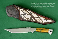 """Argyre"" obverse side view in 440C high chromium stainless steel blade, 304 stainless steel bolsters, Tigereye quartz gemstone handle, python skin inlaid in hand-carved leather sheath"
