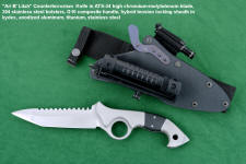 """Ari B' Lilah"" Custom Counterterrorism Tactical Combat Knife, obverse side view in ATS-34 high molybdenum-chromium martensitic stainless steel blade, 304 stainless steel bolsters, black G10 composite handle, hybrid tension-locking sheath in kydex, anodized black aluminum alloy, titanium, blackened stainless steel fasteners, anodized hardware and mounts, HULA with MagTac flashlight, LIMA with Maglite LED Solitaire, Ultimate belt loop extender with diamond pad sharpener"