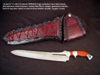 "Fine investment grade knife: ""Artemis"" in CPM S30V high vanadium tool steel blade, 304 stainless steel bolsters, Indian Red River Jasper gemstone handle, ostrich leg skin inlaid in hand-tooled leather sheath"