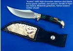 """Aunkst"" trailing point working, field, dressing knife in stainless steel, brass, and tigereye, malachite gemstone with python, leather sheath"
