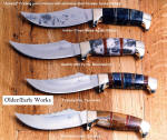 """Aunkst"" western trailing point knife designs, hidden tang, gemstone and hardwood handles, brass fittings"