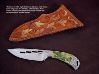 """Bootes"" obverse side view in milled and mirror polished 440C high chromium stainless steel blade, hand-engraved 304 stainless steel bolsters, Rain Forest Jasper gemstone handle, hand-carved and bronzed leather sheath"