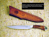 """Buckhorn"" Caping, boning knife in 440C high chromium stainless steel blade, nickel silver bolsters, Goncalo Alves hardwood handle, engraved, hand-stamped leather sheath"