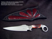 "Collectors grade tactical knife: ""Bulldog"" in 440c stainless steel blade, hand-engraved 304 stainless steel bolsters, Mookaite Jasper gemstone handle, ostrich leg skin inlaid in hand-carved leather sheath"
