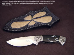 """Chama"" in stainless blade, engraved bolsters, snowflake obsidian gemstone handle, exotic skin inlaid sheath"