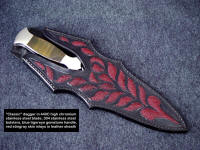 """Classic"" dagger with gemstone handle, sheathed view. Note multiple red stingray skin inlays in sheath face"