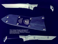 Commemorative, custom personalized knife blades: Emergency Response Unit SAR knife, etched blade, engraved flashplate