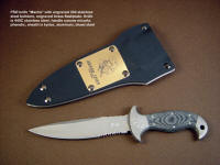 "Engraved commemorative, service duty Principle Security Detail knife ""Macha"" in engraved stainless steel, engraved brass sheath flashplate"