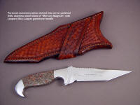 "Personalized etched biblical verse on mirror finished blade of custom handmade knife ""Mercury Magnum"""