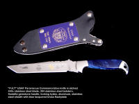 USAF Pararescue PJLT commemorative knife, with etched stainless steel blade, electroformed green gold footprints on stainless blade