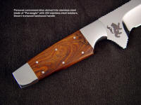 Custom etching on ricasso of Paraeagle of mirror finished stainless steel blade; rampant lion
