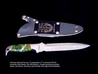 "Etching in Special Forces ""Treatymaker LT"" knife blade, double edged requires tight etching design pattern"